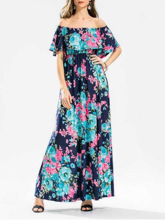Robe Maxi Florale à Volant Épaules Dénudées - Floral XL