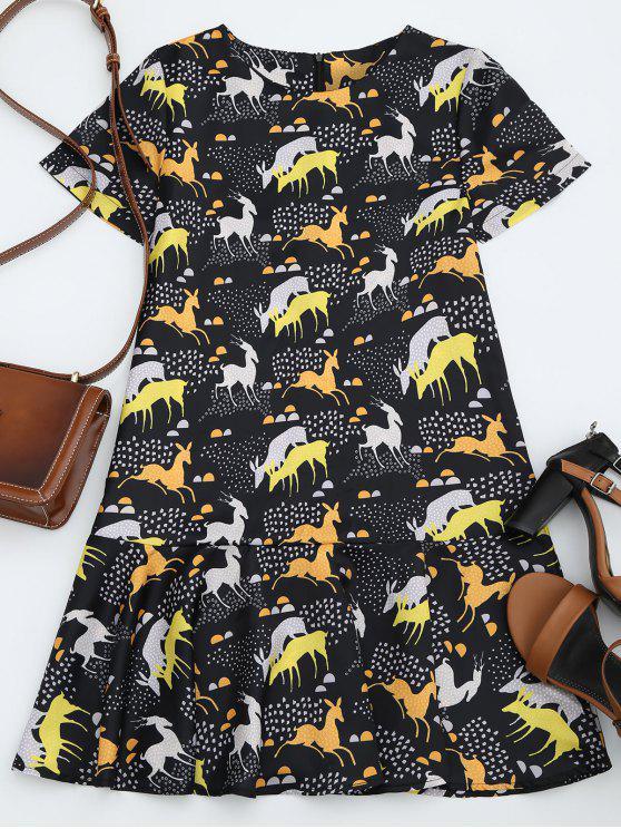 latest Ruffles Fawn Shift Mini Dress - BLACK L