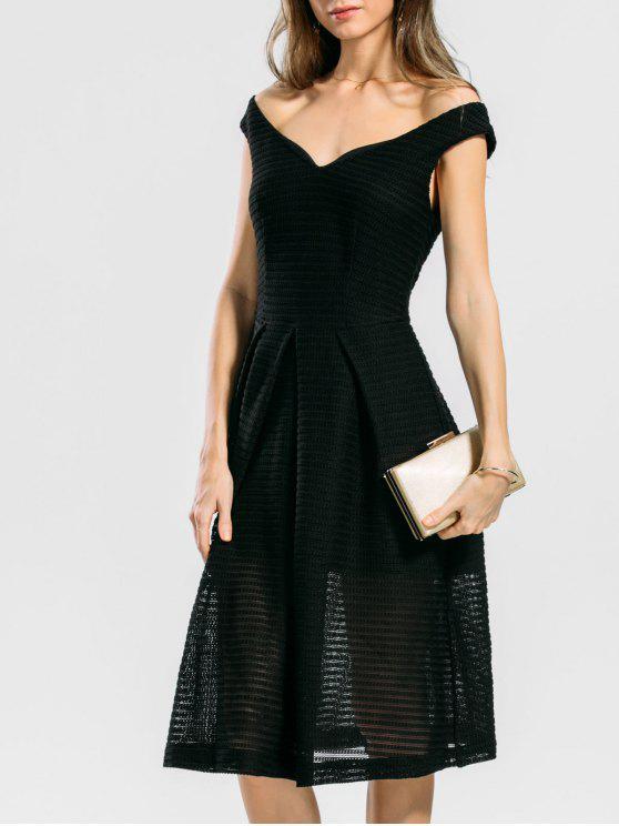 fashion Convertible Collar Plain Flare Dress - BLACK M