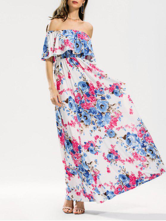 فستان طباعة الأزهار كشكش ماكسي - الأزهار S