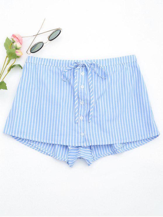 ladies Drawstring Button Up Striped Skorts - LIGHT BLUE L