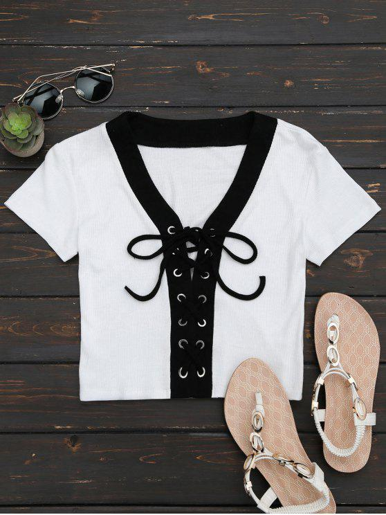 Lace Up Knitting Crop Top - Branco S