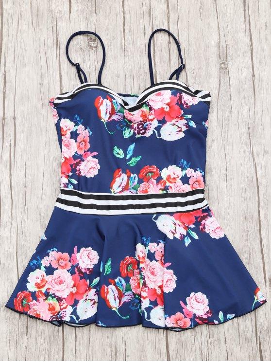 Top Tankini et Bas Bikini Imprimé à Fleurs Jupe Moulée - Bleu Marine S
