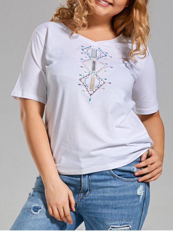 T-shirt à manches courtes brodées V Neck - Blanc 4XL