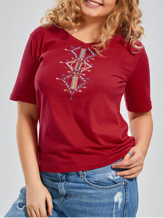 chic Embroidered V Neck Plus Size T-shirt - RED 2XL