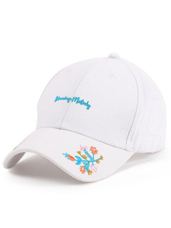 hot Letters Flowers Embroidery Baseball Hat - WHITE