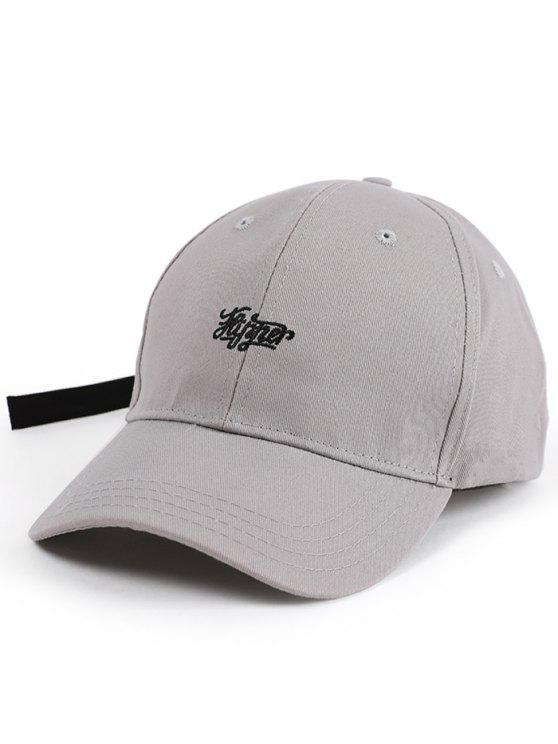 Lettres Embellished Long Tail Baseball Hat - Gris