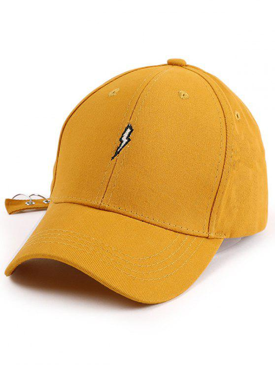 trendy Lightning Embroidery Circles Long Tail Hat - YELLOW