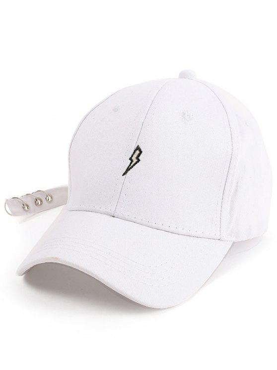 fashion Lightning Embroidery Circles Long Tail Hat - WHITE