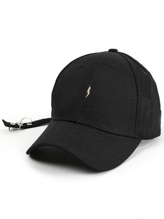 chic Lightning Embroidery Circles Long Tail Hat - BLACK
