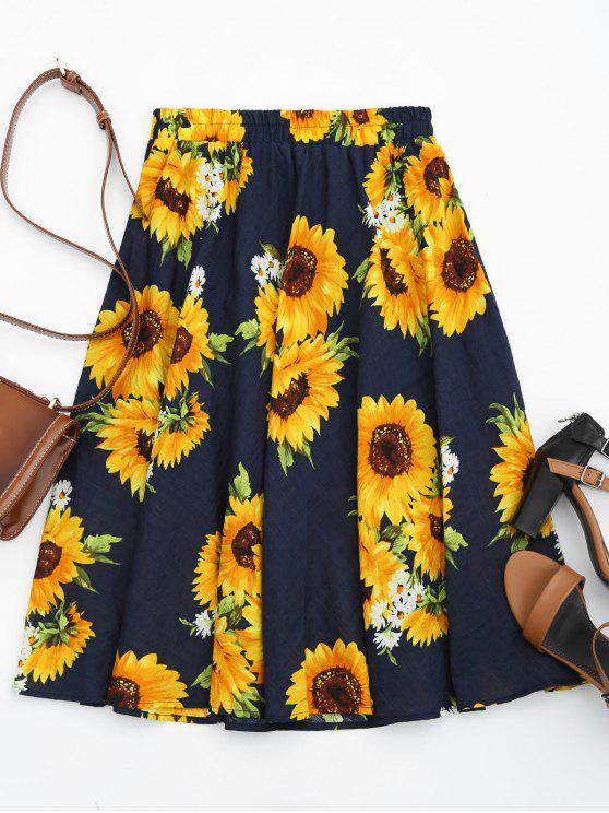 best Sunflower Print High Waist Skirt - FLORAL ONE SIZE