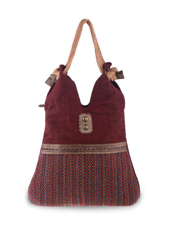 best Linen Large Boho Shoulder Bag - WINE RED