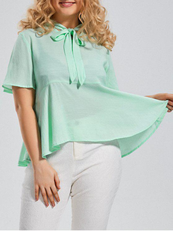 new Plus Size Tied Neck Smock Blouse - MINT XL
