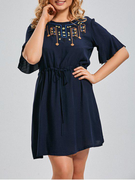 Vestido Bordado Belly Ruffles com tamanho Plus - Azul Escuro 2XL