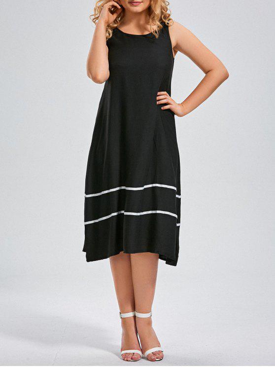 womens Plus Size Midi Striped Trapeze Tank Dress - BLACK 2XL