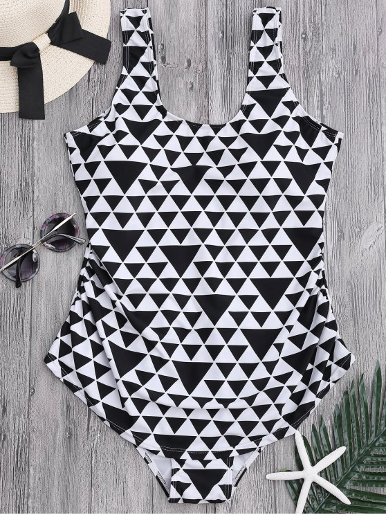 latest Geometric Pattern Scoop Plus Size Swimwear - WHITE AND BLACK 2XL