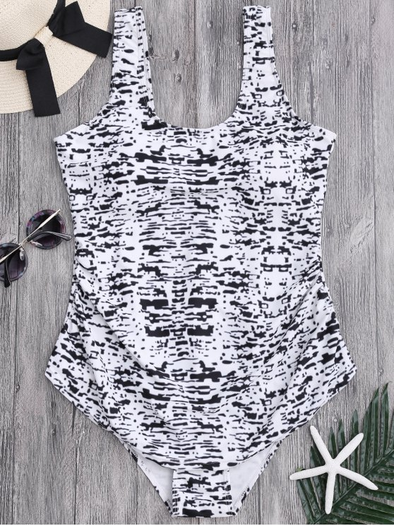 sale Tie Dyed Scoop Plus Size Swimwear - COLORMIX 2XL