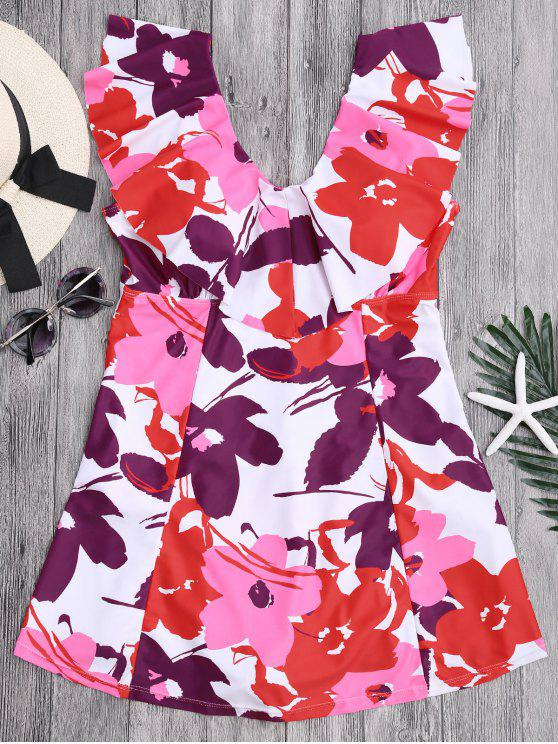 ladies Ruffles Floral Plus Size Skirted Swimwear - FLORAL 2XL