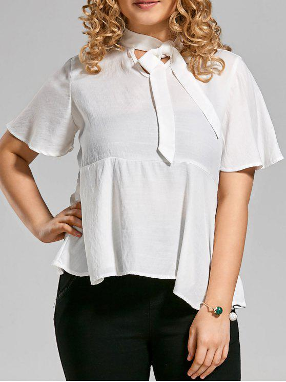 hot Plus Size Tied Neck Smock Blouse - WHITE XL
