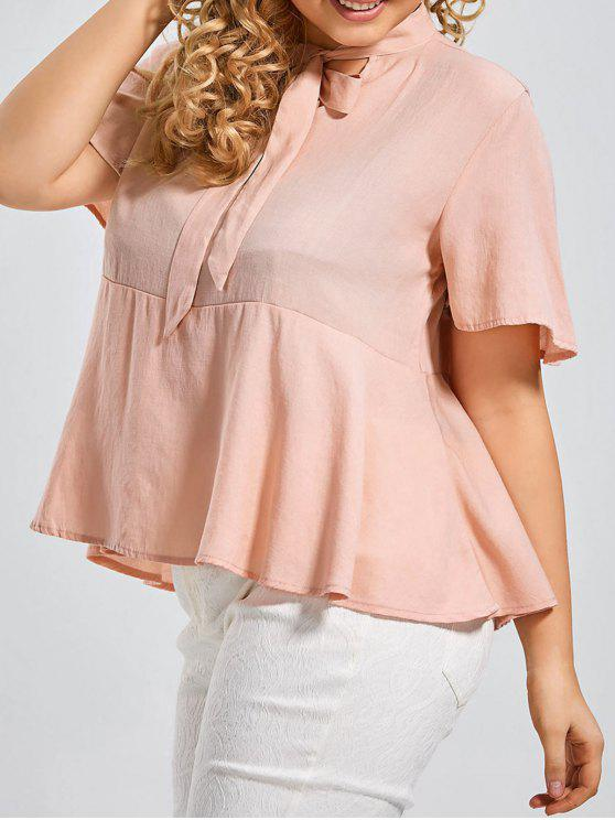 latest Plus Size Tied Neck Smock Blouse - SHALLOW PINK XL