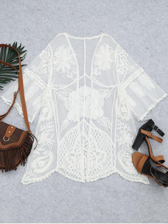 fashion Embroidered Sheer Lace Beach Kimono Cover Up - WHITE ONE SIZE