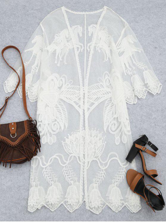 Sheer Lace Beach Kimono Cubrir - Blanco Única Talla