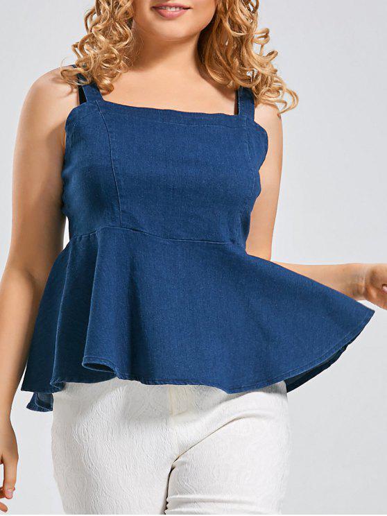 women's Denim Plus Size Peplum Tank Top - DENIM BLUE 2XL