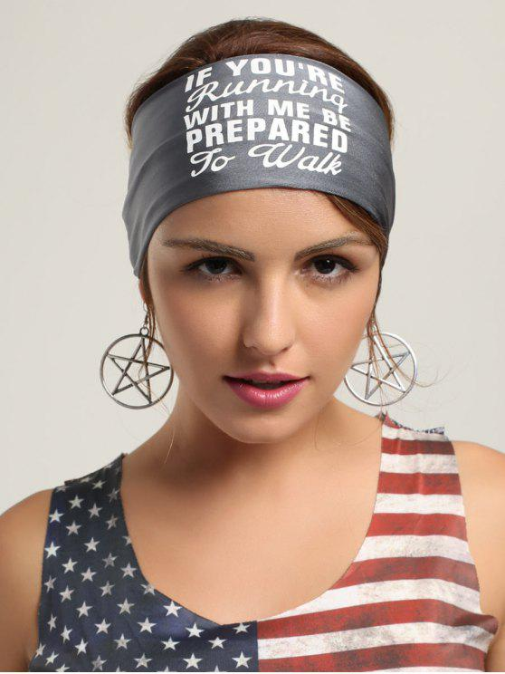 lady Letters Pattern Running Headband - GRAY