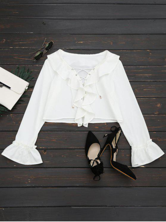 hot Lace Up Ruffle Hem Crop Blouse - WHITE L