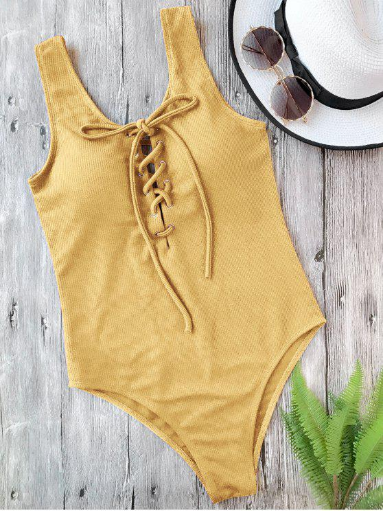 women Textured Padded Lace Up One Piece Swimsuit - GINGER L