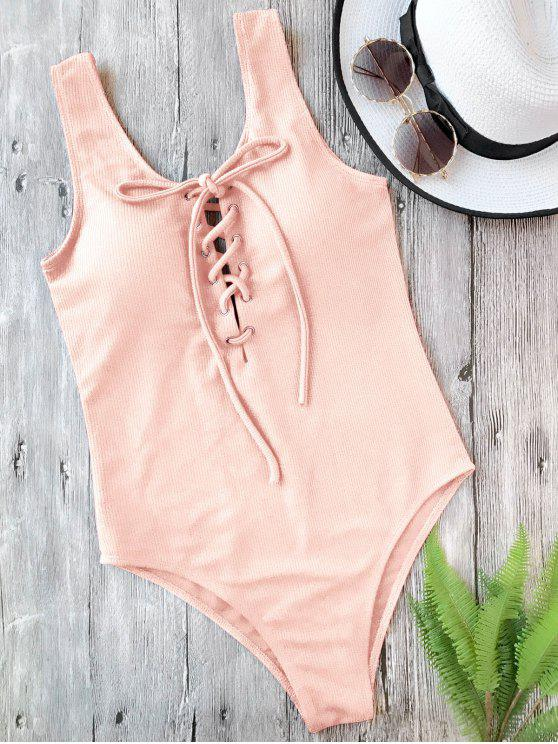 unique Textured Padded Lace Up One Piece Swimsuit - PINK M