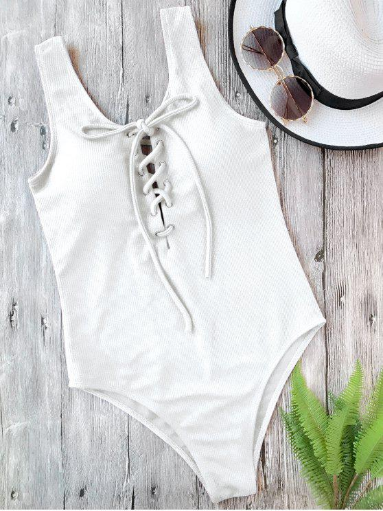 chic Textured Padded Lace Up One Piece Swimsuit - WHITE S