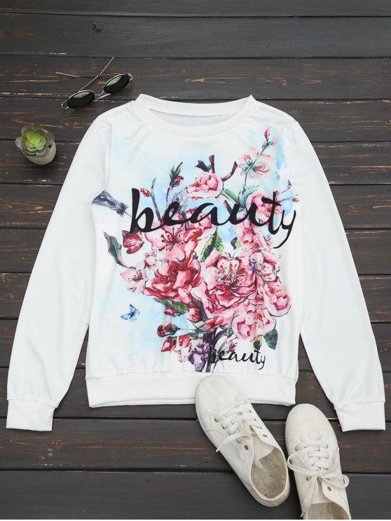 Camiseta floral de la impresión de la letra - Floral L