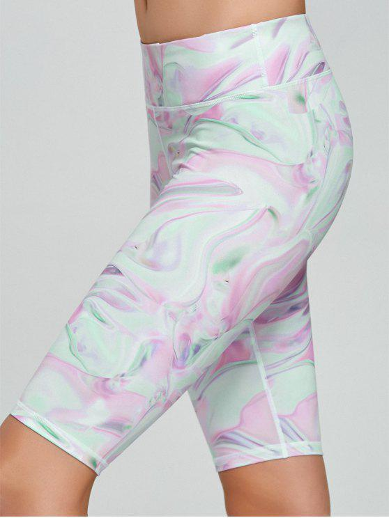 womens Fresh Pattern Running Tight Shorts - PINK XL