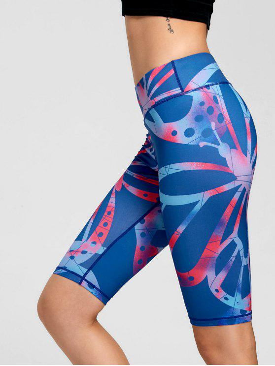 ladies Active Pattern Fitness Shorts - BLUE L