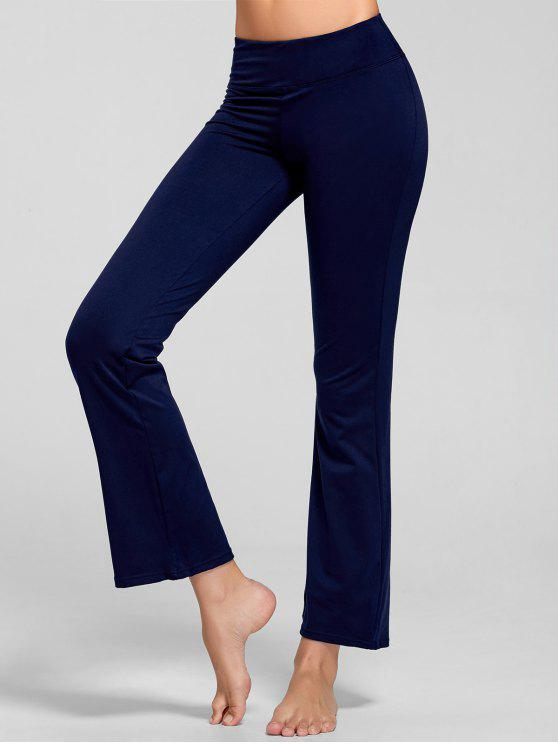 trendy Stretch Bootcut Yoga Pants with Pocket - DEEP BLUE S