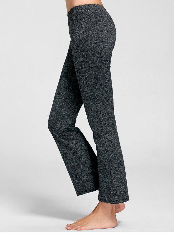 women Marled Bell Bottom Yoga Pants - DEEP GRAY XL
