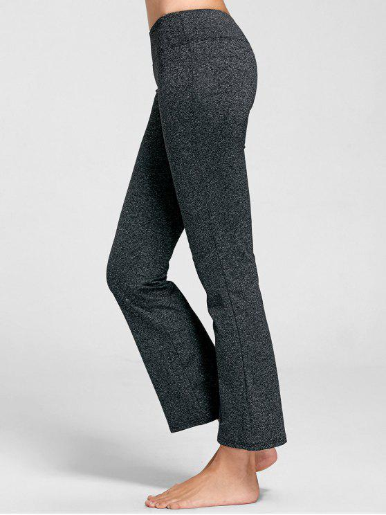 lady Marled Bell Bottom Yoga Pants - DEEP GRAY S