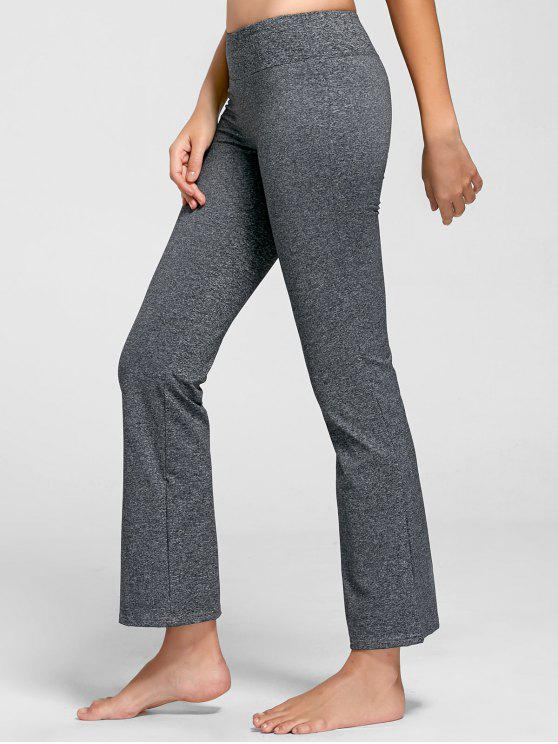 affordable Marled Bell Bottom Yoga Pants - GRAY M