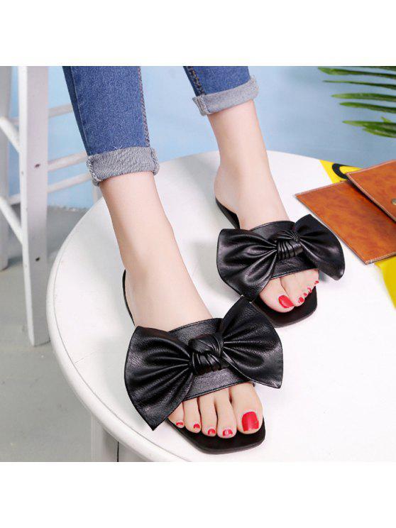 women's Flat Heel Faux Leather Bowknot Slippers - BLACK 38