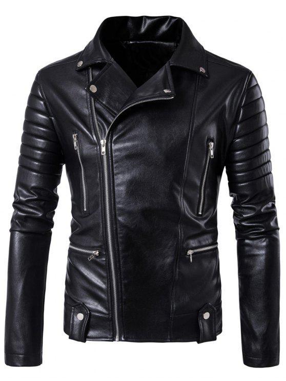 جاكيت الدرجات غير متماثل بسحاب مع جيوب - أسود XL