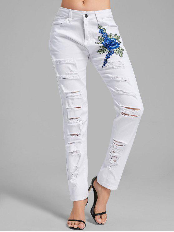 الأزهار مطرزة الدنيم السراويل - أبيض M