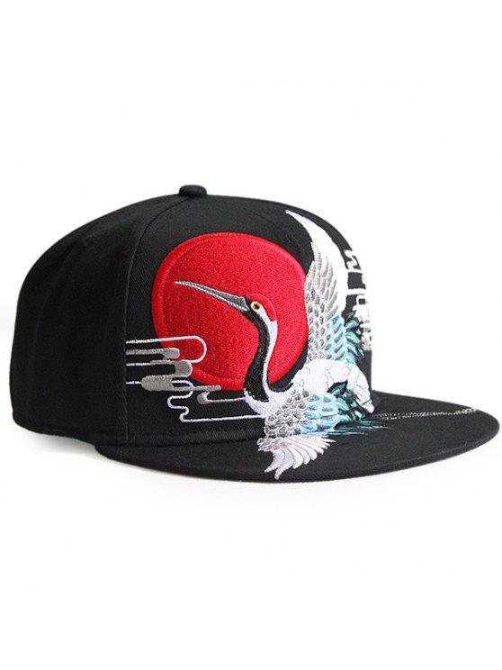 ريترو الأحمر تاج كرين التطريز قبعة البيسبول - أسود