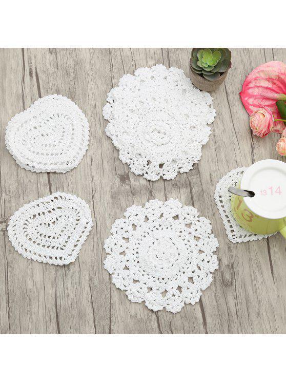 10 قطع اليدوية جولة شكل قلب الكروشيه الدانتيل المفارش - أبيض