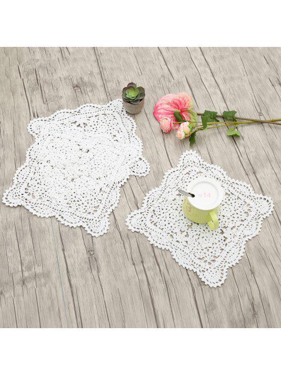 3 قطع اليدوية الكروشيه القطن الدانتيل المفارش - أبيض