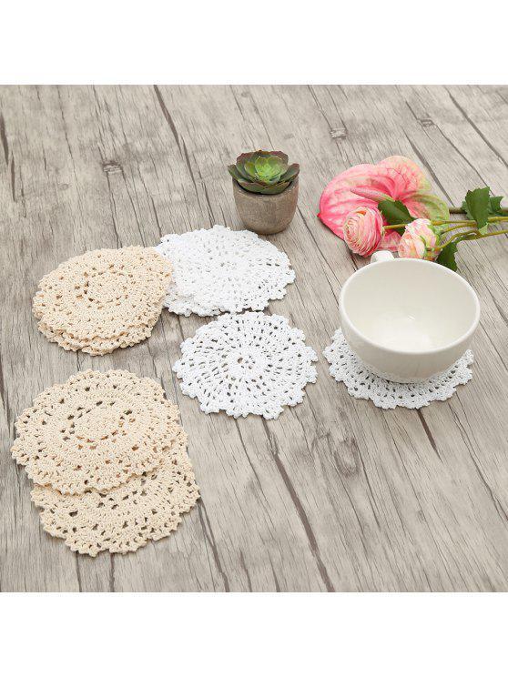 10 قطع جولة شكل اليدوية الزهور الكروشيه المفارش - أبيض + بيج