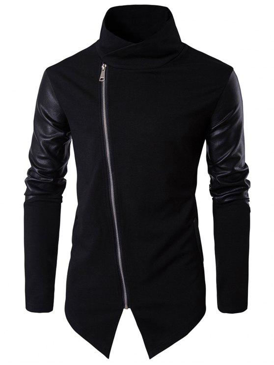 fashion Asymmetrical Zip Faux Leather Panel Pullover Top Asymmetric Hoodie - BLACK M