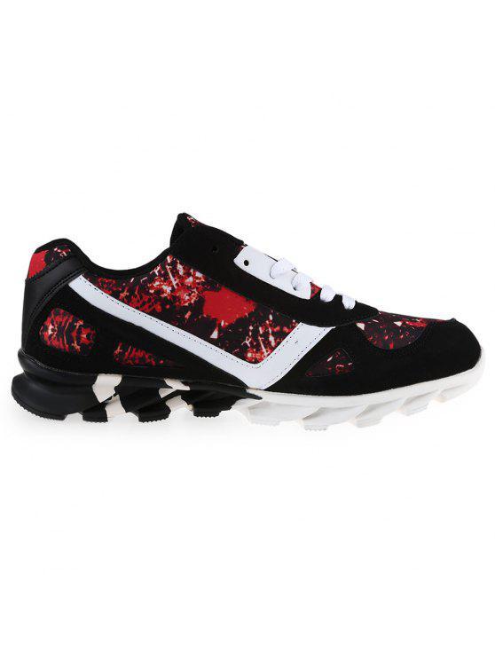 اللون تقسم طباعة التعادل يصل أحذية رياضية - الأحمر مع الأسود 44