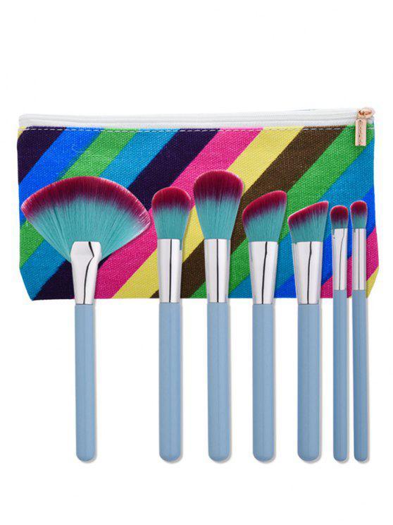 7 قطع ماكياج فرش مجموعة مع شريط حقيبة - الضوء الأزرق