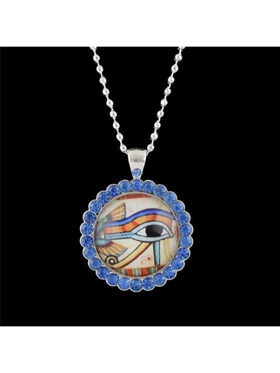 حجر الراين العين جولة قلادة قلادة - أزرق